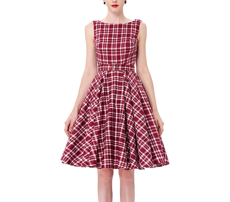 888eabece Black Red Summer Audrey Hepburn 50s 60s Vintage Dresses Vestidos Big Size  Rockabilly Party Dress at Amazon Women's Clothing store: