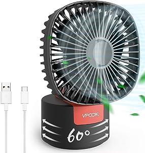 VPCOK Desk Fan 2 in 1 Portable Fan Tabel Fan Handheld USB Fans for Desk 60° Oscillating Mini Desk Fan 180° Foldable Personal Fan 3 Speed Rechargeable 5 Blades for Office Home Travel Outdoor
