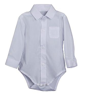 Baby Boys Poly Cotton Button Up White Dress Shirt Bodysuit Romper w/Collar -NB