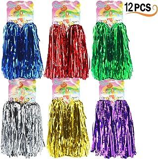 Hatisan-Pro 12 Pcs Cheerleading Pom Poms, Cheerleading Pompons Pom-Pom Girls Pompoms avec Poignée pour Ball Dance Déguisements Nuit Fête des Sports