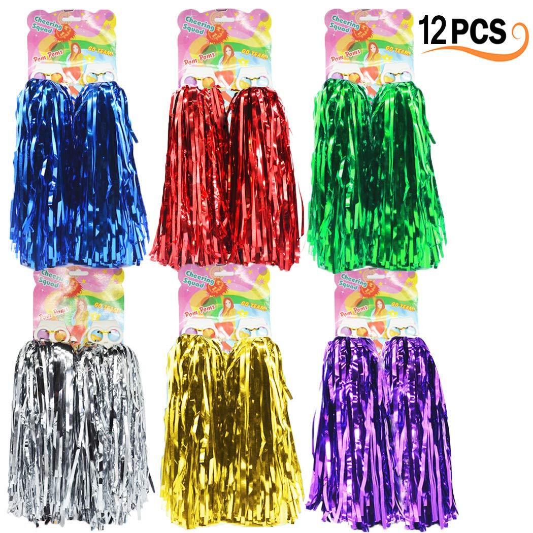 12er Pack Cheerleading Pom Poms - Ultra Shining Pom Pom Cheerleader Puschel Tanzpuschel Party Sport Fußball Zubehör (6 Farben) Hatisan-Pro