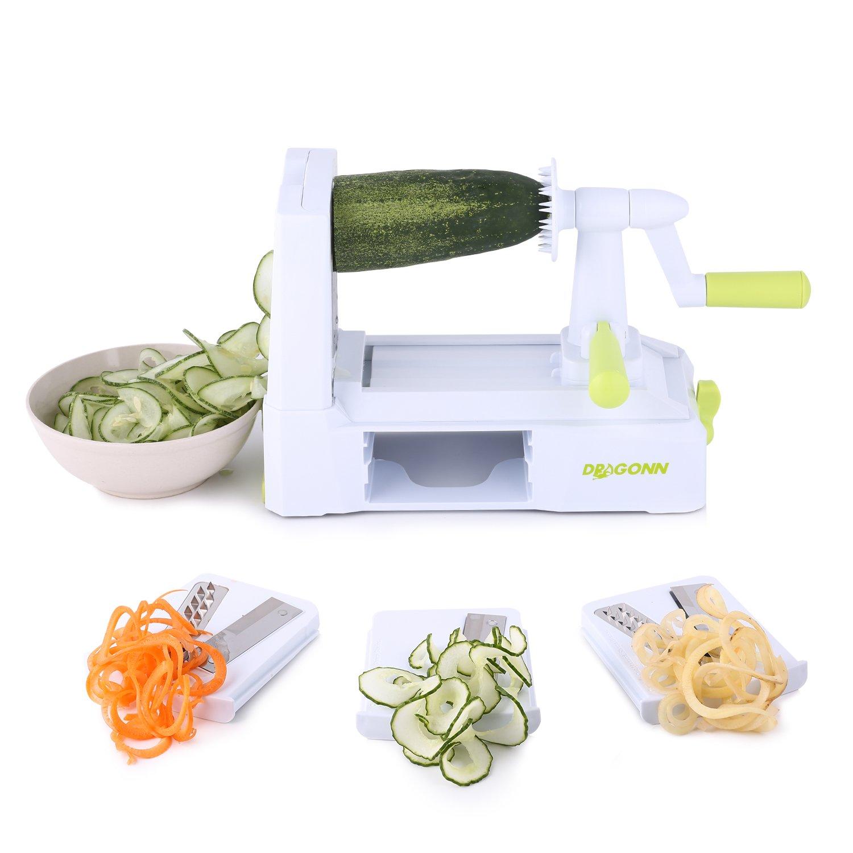 Compra DRAGONN Spiralizer Cortador de Verdura en Espiral de 3 Cuchillas, Espiralizador de Verduras en Amazon.es