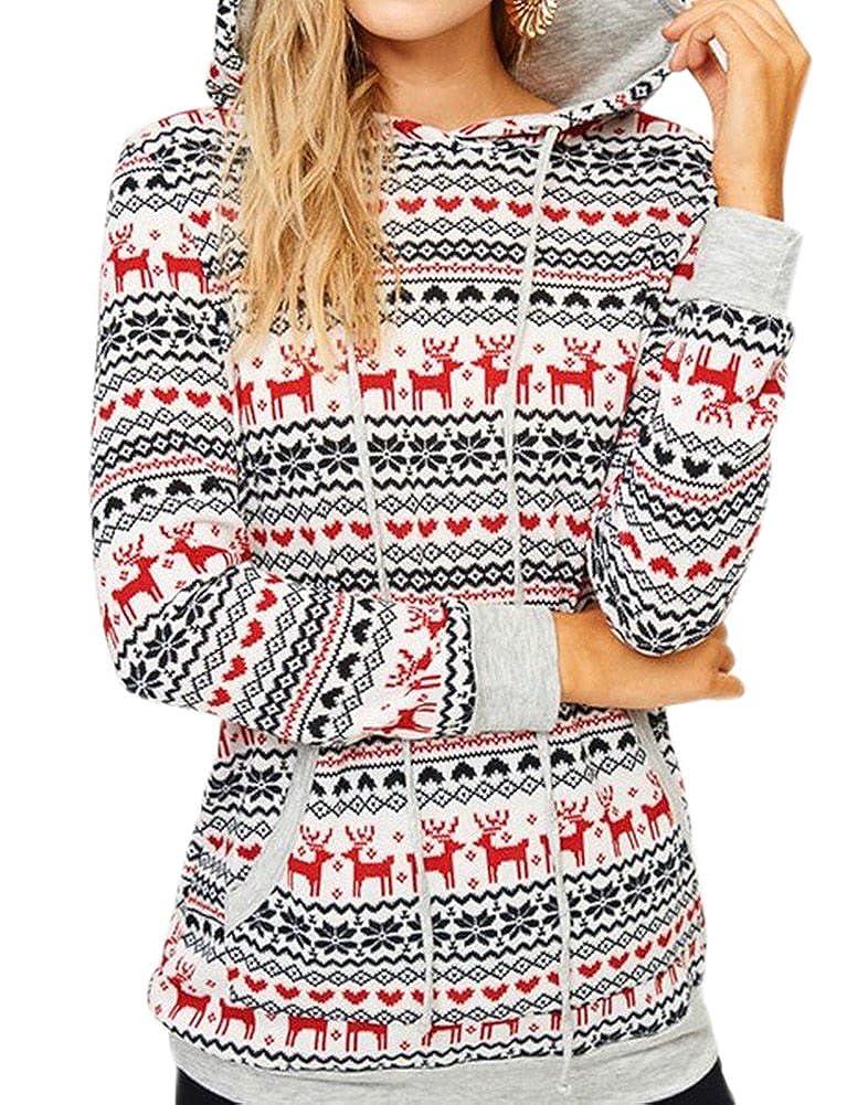 For G and PL Women's Christmas Snowflakes Hoodie Top Kangaroo Pocket 219C01