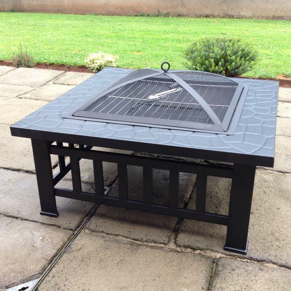 Alightup 32'' Metal Fire Pit Outdoor Backyard Patio Garden Stove Fire Bowl Fireplace Brazier Square with Mesh Fire Cover, Charcoal rack, Poker for Warmth, BBQ and Cooling drinks and food