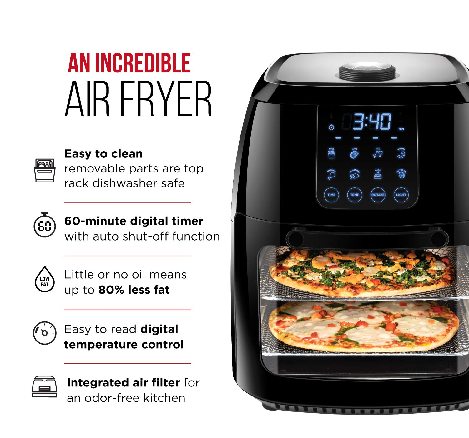 Chefman 6.3 Quart Digital Air Fryer Rotisserie, Dehydrator, Convection Oven, 8 Presets to Air Fry, Roast, Dehydrate, Bake More, BPA-Free, Auto Shut-Off, Accessories Included, XL Family Size, Black