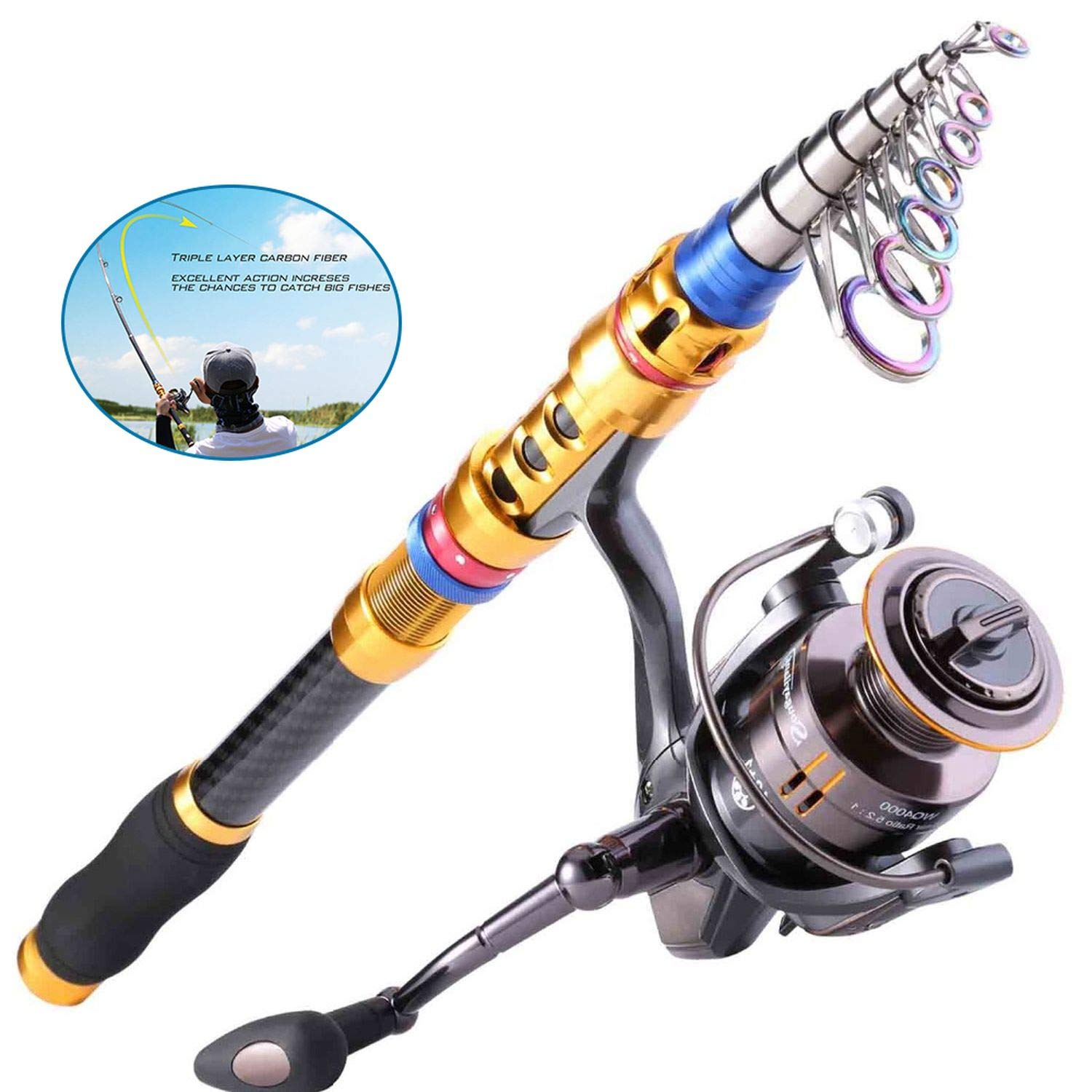 color 3 3m ZZmeet Telescopic Fishing Rod and 14BB Spinning Fishing Reel Sets Carp Rod Reel Wheel Combo Saltwater Fishing Pole de Pesca