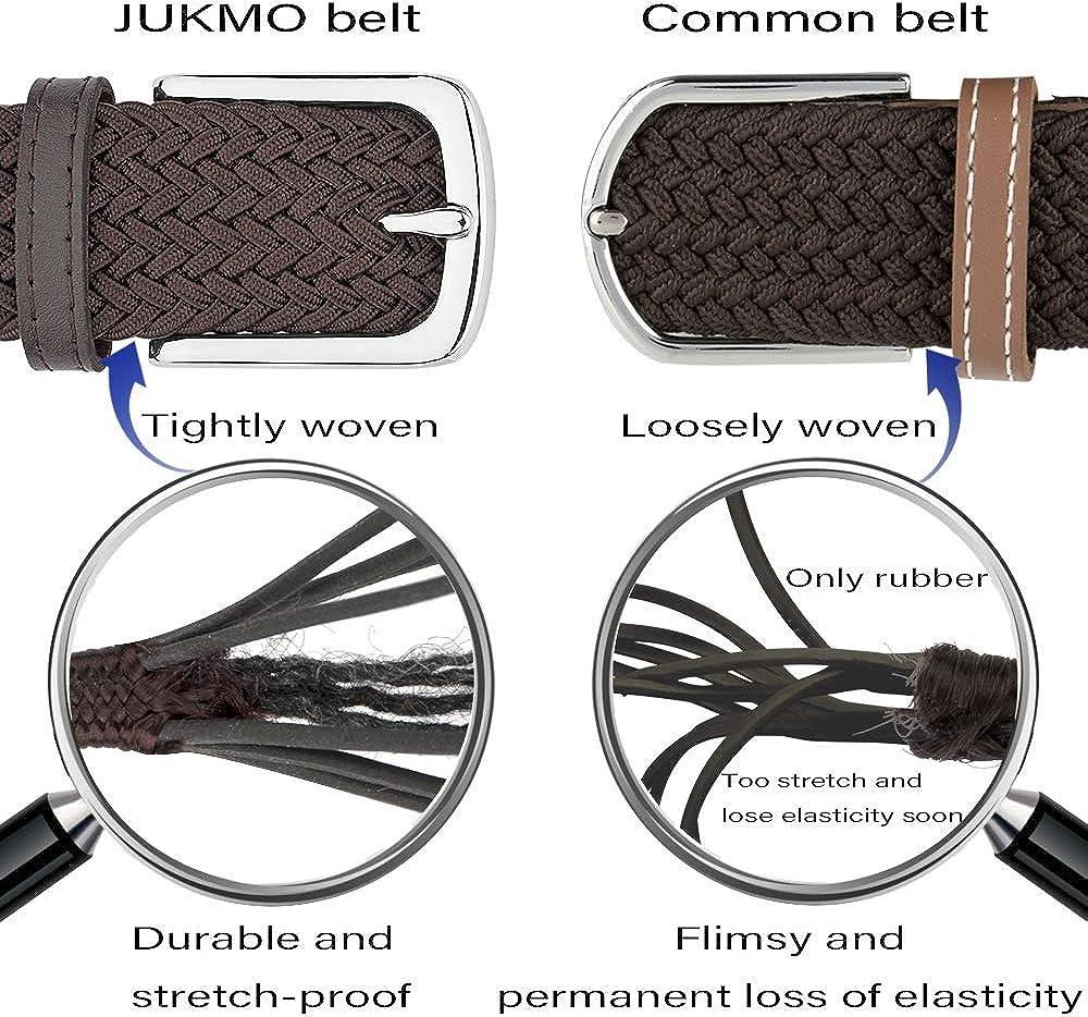 JUKMO Mens Elastic Braided Belt Stretch Woven Belt in Gift Box
