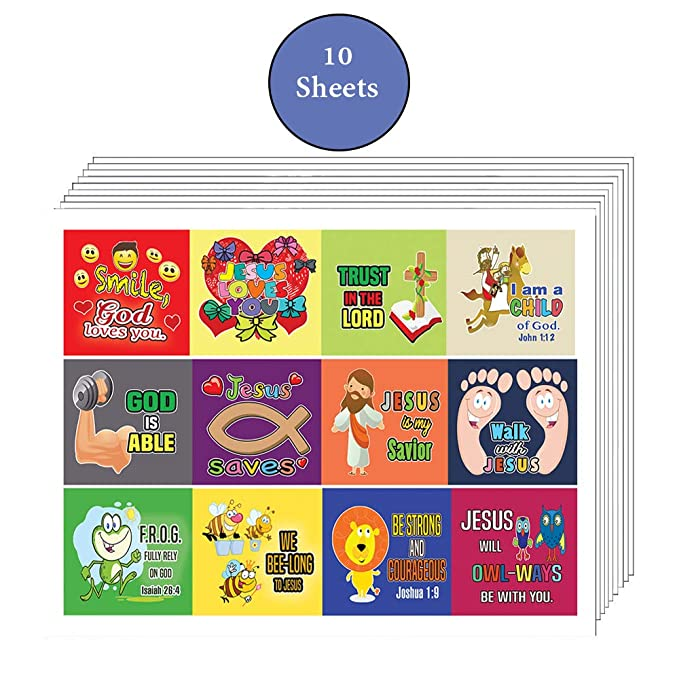 Amazon Christian Stickers For Kids Boys Girls 10 Sheets Affirmation Encouraging Bible Verses