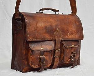 vintage leather messenger Real brown laptop satchel bag genuine briefcase