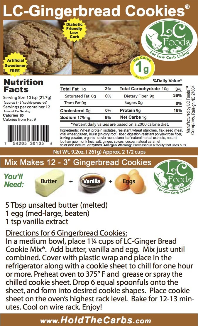 Low Carb Gingerbread Cookie Mix - LC Foods - All Natural - No Sugar - Diabetic Friendly - 9.2 oz