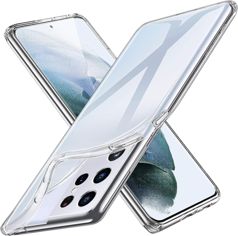ESR Funda Transparente Compatible con Samsung Galaxy S21 Ultra 5G (6.8Pulgadas) (2021) Funda Delgada,Blanda y Flexible de polímero Transparente,Serie Project Zero,Transparente
