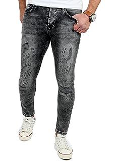 Reslad Jeans Herren Skinny Fit Destroyed Jeanshose Denim Männer-Jeans RS -2079 2692c93b06