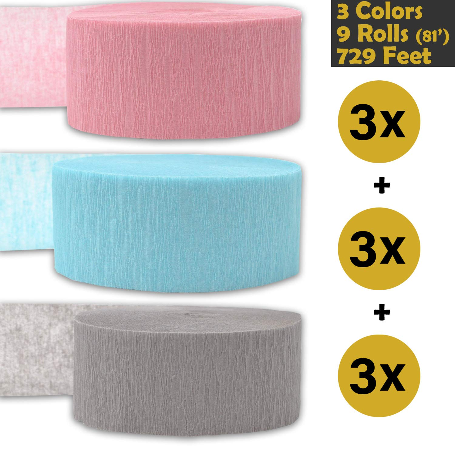 3 rolls per color, 81 foot each roll Crepe Party Streamers Classic Pink Bleed Resistant 9 rolls Flame Resistant 243 per color 3 Colors Gray Ice Blue - For party Decorations and Crafts 739 ft Made in USA