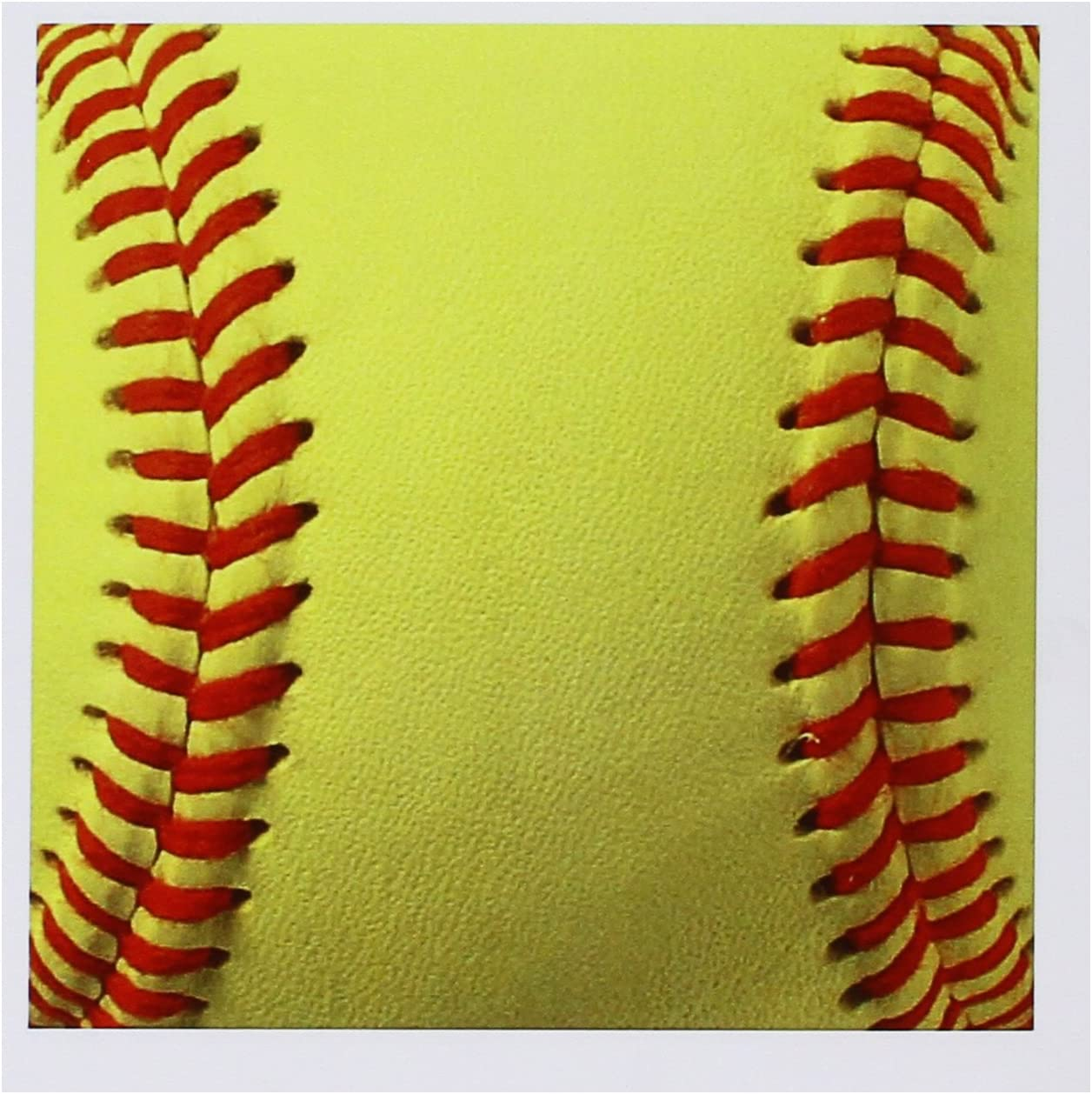 6 x 6 inches set of 12 gc/_120271/_2 yellow and red soft ball for sport fans 3dRose Softball close-up photography print Greeting Cards