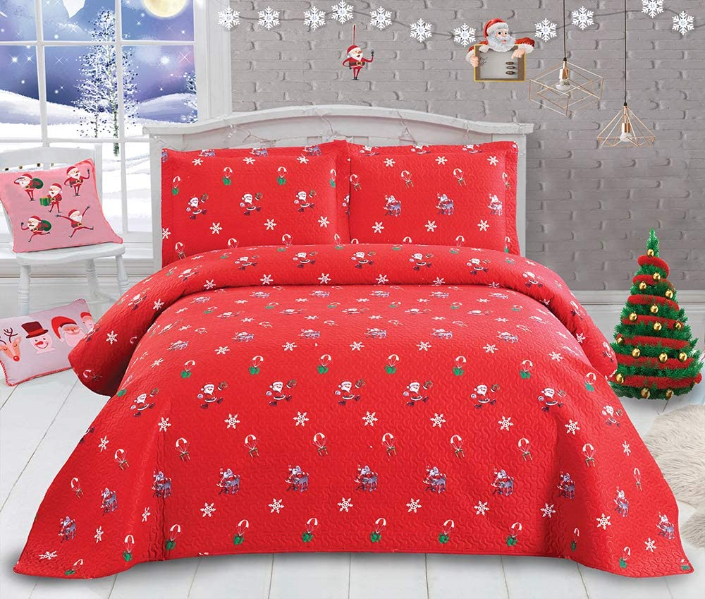 "Christmas Bedding Santa Claus Quilt Set 3Pcs Reversible Bedspread lightweight Quilt Cartoon Christmas Coverlet New Year Gift Decor Christmas Quilt Queen Size 90"" x90"" 2 Pillowcase20"" x26"" Bright color"