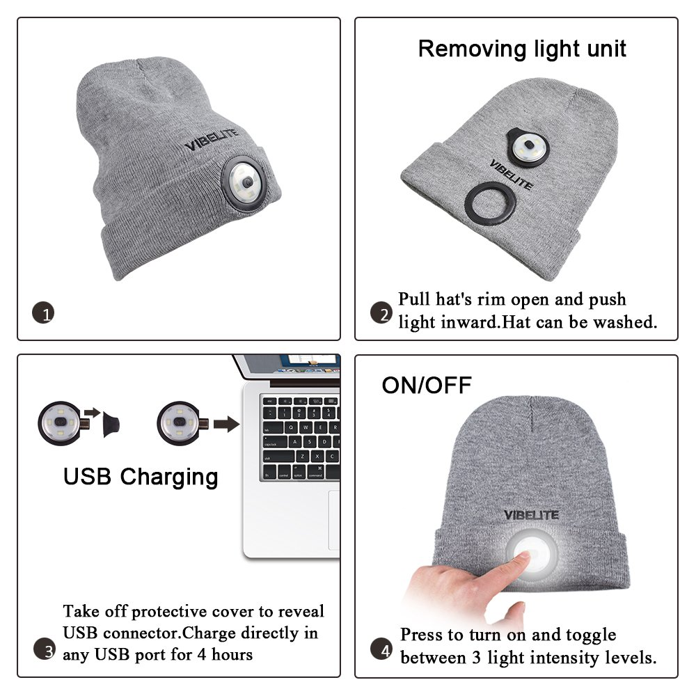 Rechargeable LED Light Winter Hat, Knitted Warm Cap, Comfortable ...