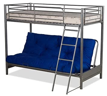 Futon Bunk Bed Complete With Mattresses In Silver Metal Finish