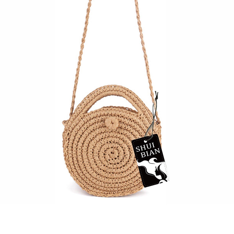 Shuibian Women Straw Crossbody Bag Crochet Shoulder Summer Bag Round Handbags Beach Bag