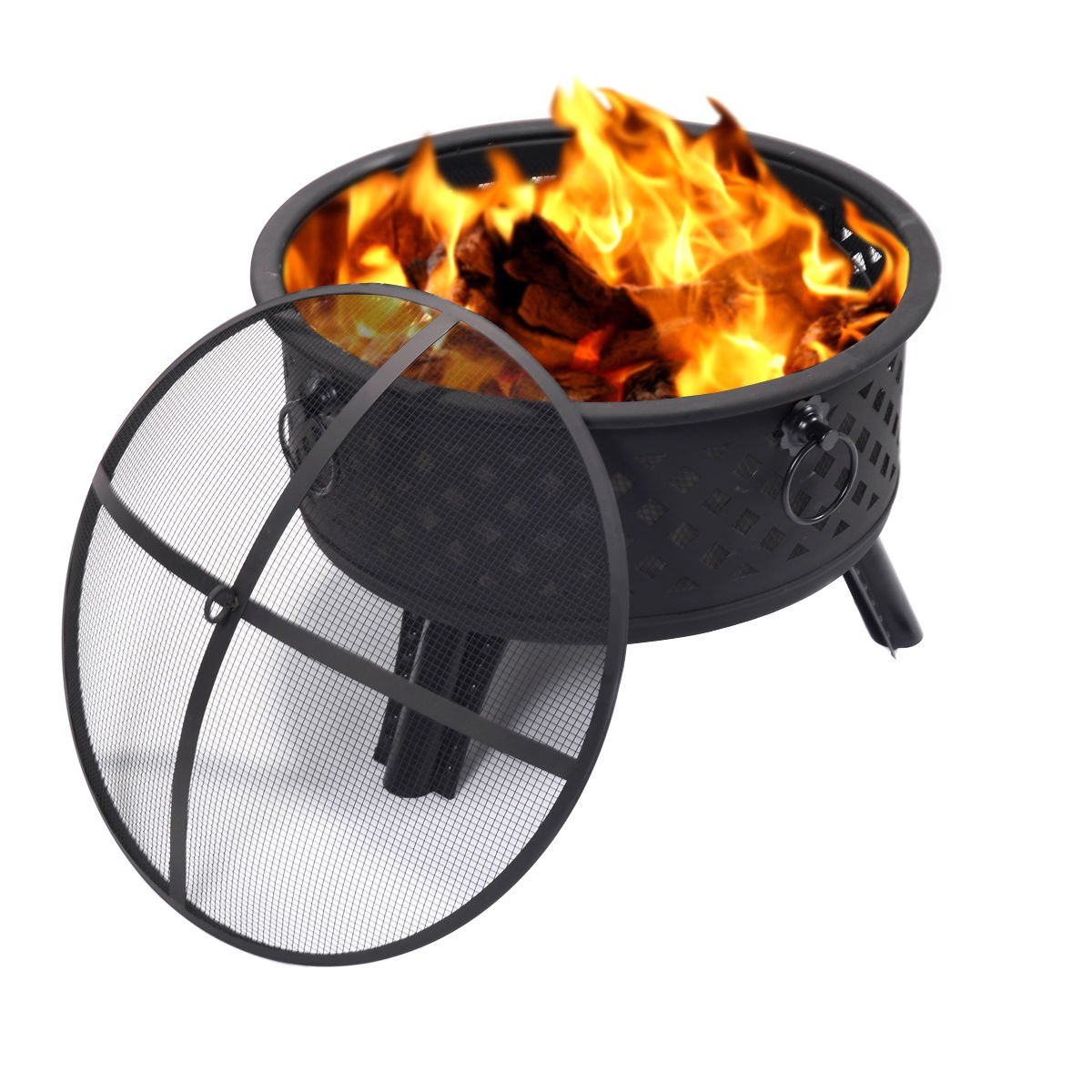 Metal Round Firepit Patio Garden Stove Outdoor Brazier With Poker 26 Inch