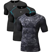 Milin Naco Men's Short Sleeve Compression T-Shirt, Cool Dry Baselayer Tops, Pack of 3