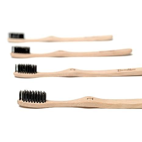Cheeky Bamboo cepillo de dientes biodegradable orgánico ecológico natural con infusión de carbón con cerdas de nailon suave sin BPA [4 unidades]: Amazon.es: ...