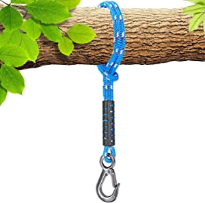 Besthouse Tree Swing Rope, 2500 LB Capacity, Hammock Tree Swing Hanging Strap, Heavy Duty Hook, 440 LB Capacity, for Indoor Outdoor Swing Hammock Playground Set Accessories, 1.64 ft, 1 Pcs