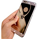 iPhone 6 Plus Case, UnnFiko Beauty Luxury Diamond Hybrid Glitter Bling Soft Shiny Sparkling with Glass Mirror Back Plate Cover Case for Apple iPhone 6 Plus (5.5 Inch) - Retail Packaging (Gold)