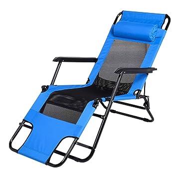 Tumbona Plegable Tumbona para Camping Tumbona para Playa con Apoyabrazos, Reposacabezas y Reposapiés de Acero Inoxidable y Nylon 178CM, Azul
