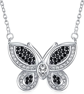 Sterling Silver Rhodium-plated Multi-Color CZ Butterfly Pendant
