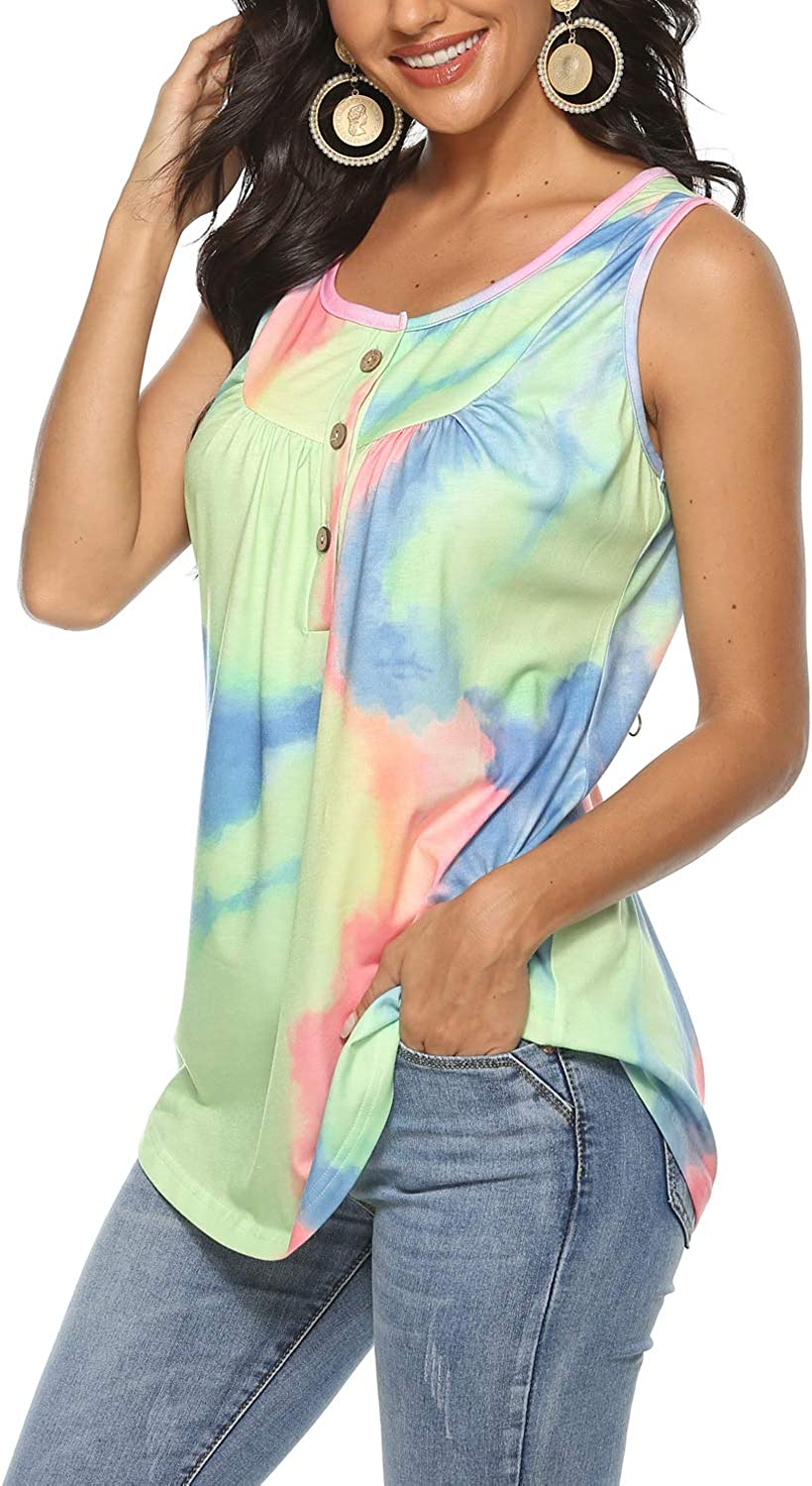 osazic Womens Tops V Neck Soft T-Shirts Floral Swing Flowy Tunic Button up Casual Loose Blouses Summer Tanks S-XXL
