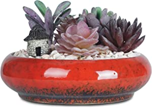 ARTKETTY 7.3 inch Round Succulent Planter Pots with Drainage Hole Bonsai Pots Garden Decorative Cactus Stand Ceramic Glazed Flower Container Bowl (Red)