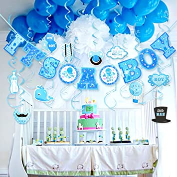 Prime Baby Shower Decorations For Boy Its A Boy Baby Shower Decorations Hanging Banner For Baby Boy Shower Room Decoration Kit Download Free Architecture Designs Aeocymadebymaigaardcom