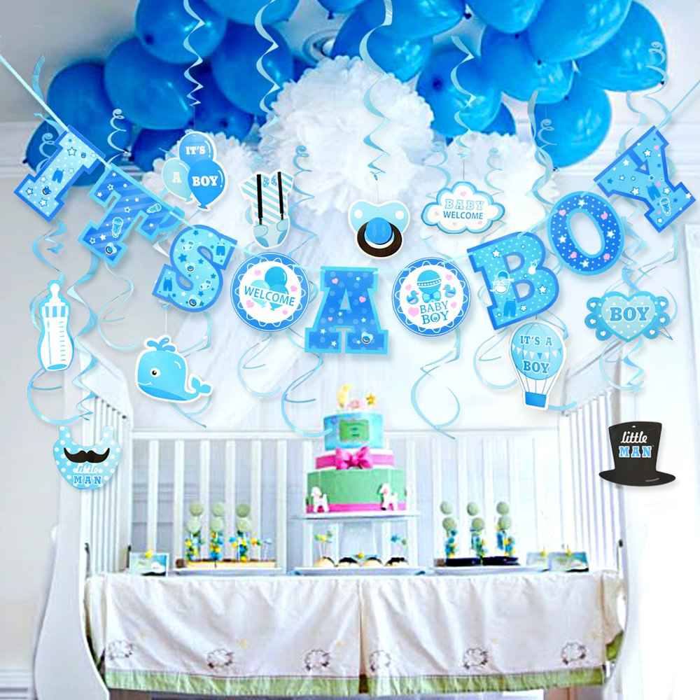 Details about Baby Shower Party Decorations Boys Hanging Banner Baby Boy  Room Decor Kit