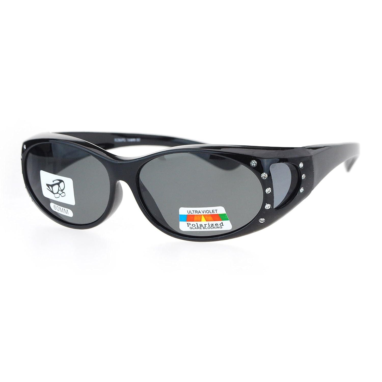 a6600c90d Amazon.com: Womens Fit Over Glasses Polarized Sunglasses Oval Rhinestone  Frame Black, Black: Clothing