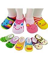6 Pairs Anti-slip Baby Socks, SUMERSHA Girls 6-12 Month Cartoon Baby Toddler Anti Slip Skid Low Cut Boat Socks + Gift Bangle With bags No Show Newborn Socks