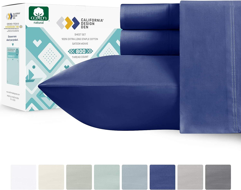 California Design Den 800 Thread Count Sateen Sheets - 100% Natural Cotton Hotel Luxury Range, Soft and Crisp, Deep Pocket with Anti-Slip Gripper Elastic (4 Piece, Queen, Dark Blue)