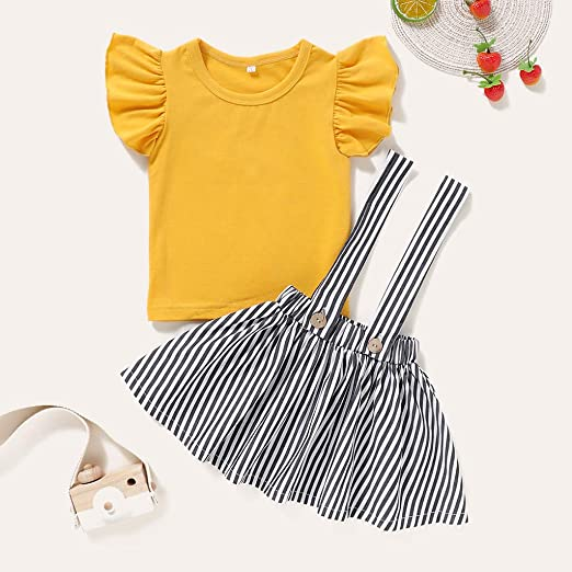 HGWXX7 Toddler Baby Girl Kids Clothes Sets Floral Chiffon T-Shirt Tops Solid Shorts Pants with Belt