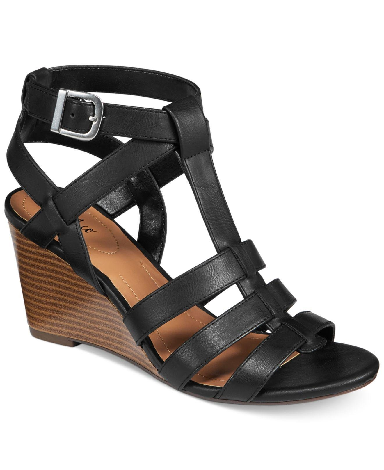 Style & Co. Womens Haydar Open Toe Casual Slingback Wedges Sandals Black Size 8.5