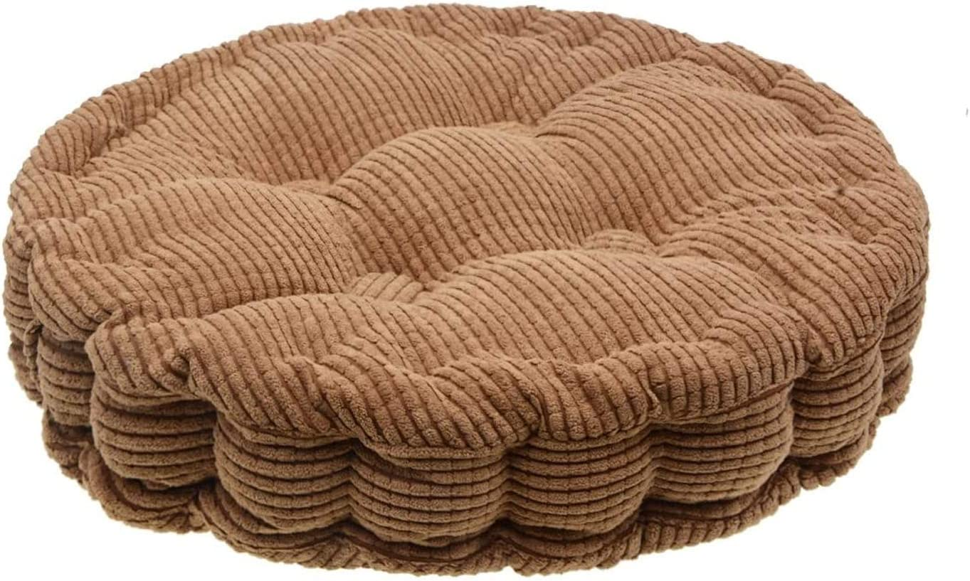 Saim Round Pillow Chair Pad Thickened Tatami Cushion Indoor Outdoor Pad,Brown 38cm