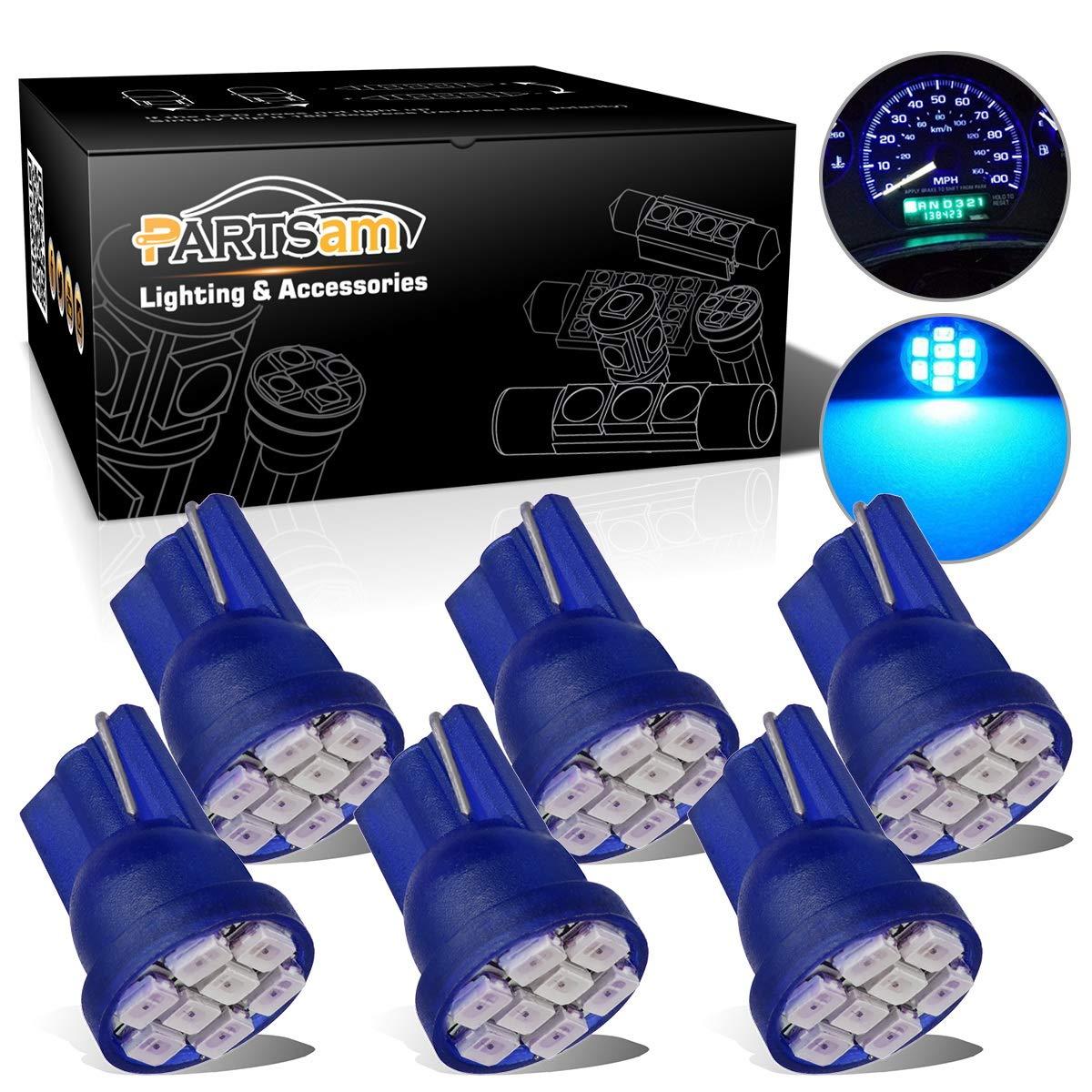 Partsam T10 LED Light Bulbs 194 168 175 2825 Lights Car Interior Dome Map Door Courtesy Light-6Pcs Blue