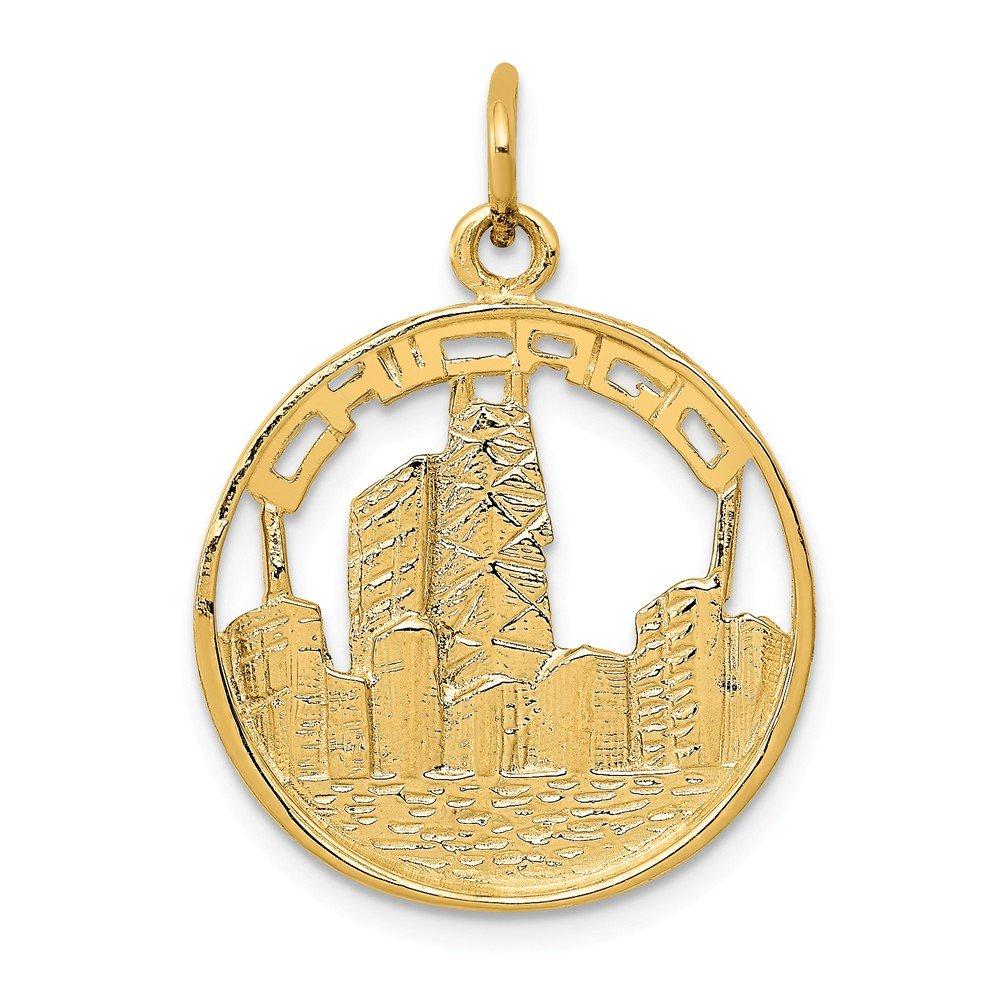 Mia Diamonds 14k Yellow Gold Chicago Skyline Charm 24.5mm x 18mm