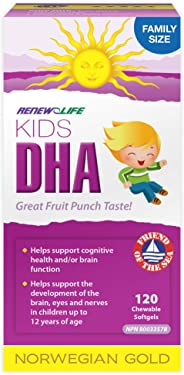 Renew Life Kids DHA Norwegian Gold, Fish Oil, Daily Vitamin and Omega 3, 120 Count