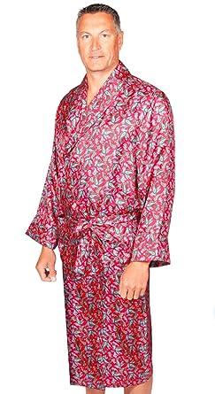 Bata Para Hombre - 100% Seda - Diseño Paisley - Rojo / Azul (M