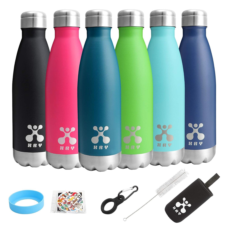 XRY Doble Pared Acero Inoxidable Aislado al vacío Botella de Agua de Cola, Prueba de Fugas Mantiene Bebidas Calientes y frías, 17oz (500 ML) Botellas de ...