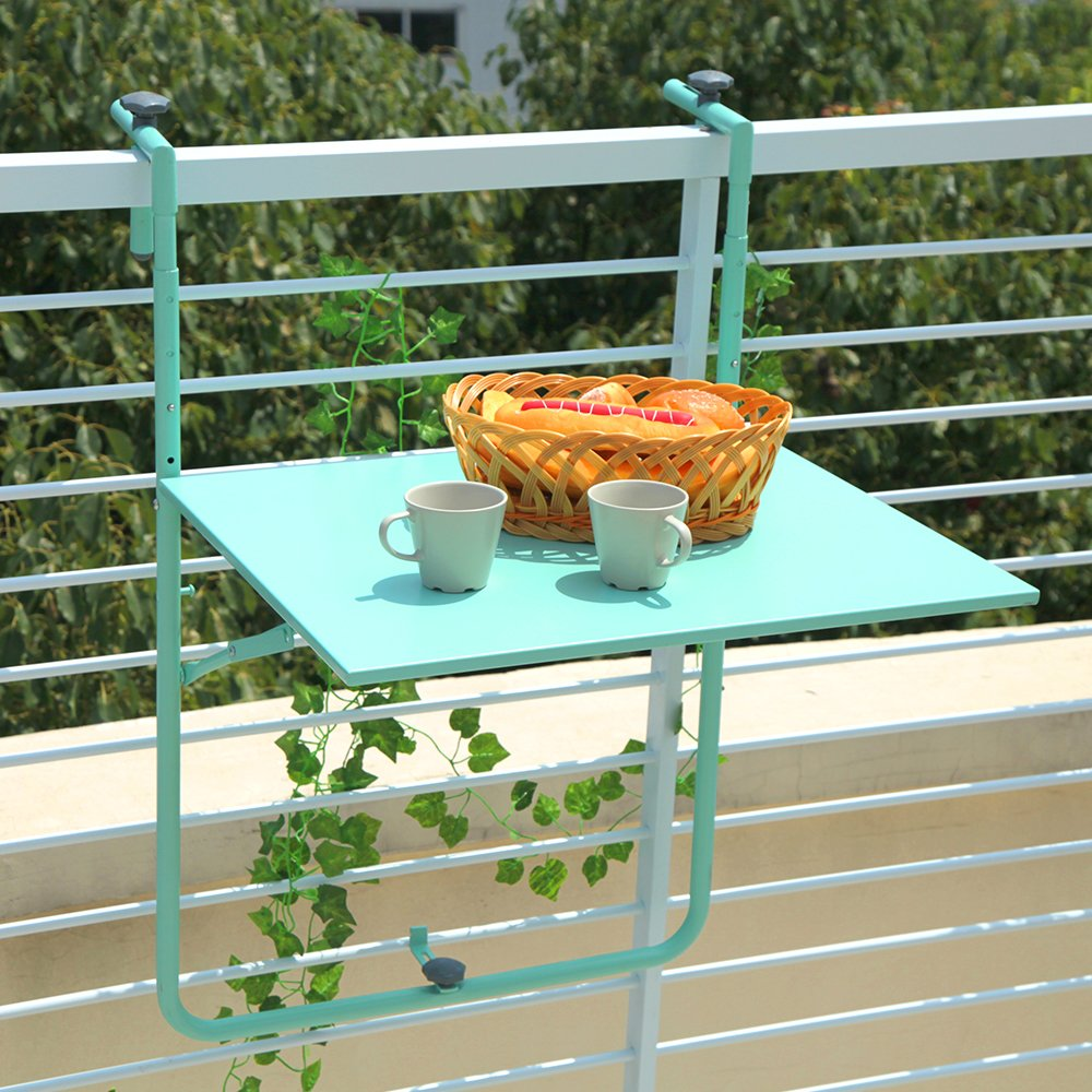 Orange Casual Outdoor Folding Deck Table Patio Balcony Adjustable Railing Hanging Table, Turquoise