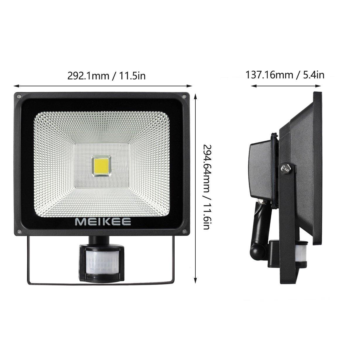 MEIKEE 50w Foco LED con Sensor Movimiento de 5000LM, Proyector LED exterior 6000k con detector PIR de IP66 (resistente al agua), Iluminación de Exterior y ...