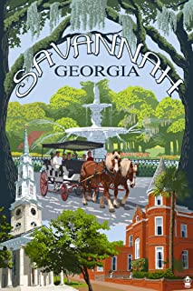 product image for Savannah, Georgia - Town Views (36x54 Giclee Gallery Print, Wall Decor Travel Poster)