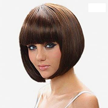 short straight bob halloween hair wigs with flat bangs brown synthetic heat resistant wig natural as