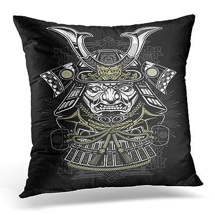 Emvency Throw Pillow Covers Case Tattoo Samurai Japanese Japan Ninja Mask Helmet Decorative Pillowcase Cushion Cover for Sofa Bedroom Car 20 x 20 ...