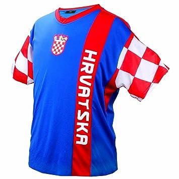 Camiseta de fútbol de Croacia azul rojo con inserciones de malla, Campeonato del Mundo -